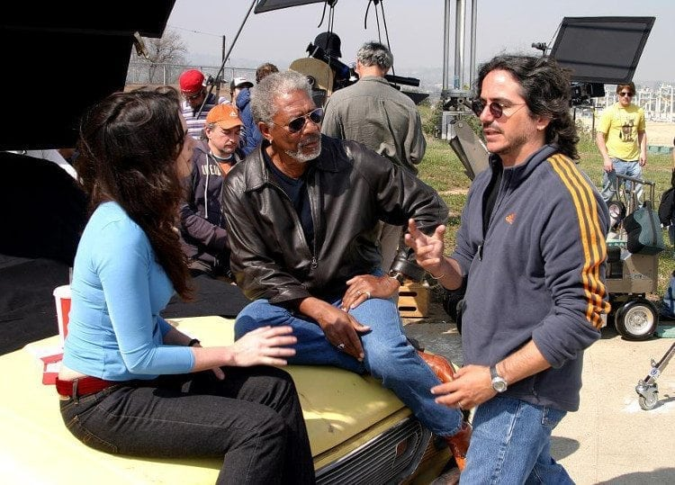 Boycotting The Oscars: photo of actor Morgan Freeman on the set of 10 ITEMS OF LESS.