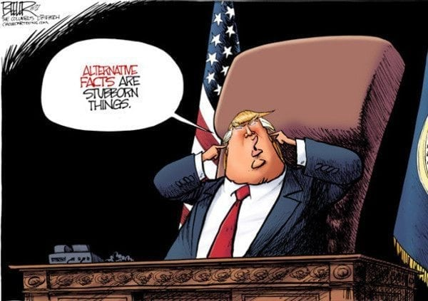 Definitely Politically Correct: cartoon by Nate Beeler about alternative facts.