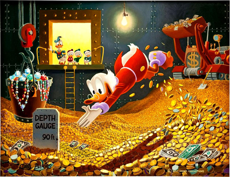CarlBarks ScroogeMcDuck painting diving 1500