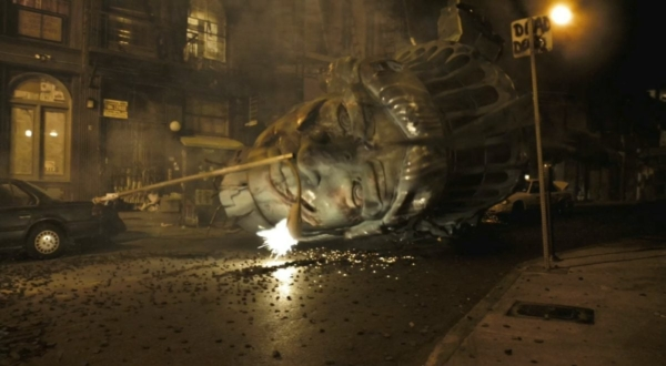 Photo of the head of the Statue of Liberty on a New York street from the movie CLOVERFIELD.