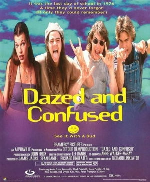 Poster for the 1975 movie DAZED AND CONFUSED, which poked fun at public education.