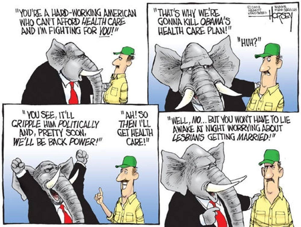 Consequentialism: cartoon about Rep*blicans and healthcare by David Horsey.