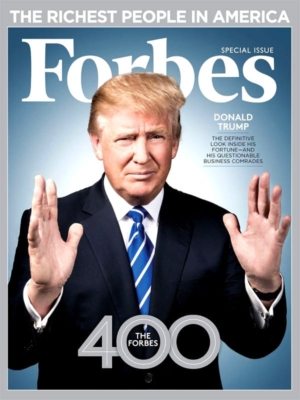 Front cover of Forbes magazine with Donald Trump.