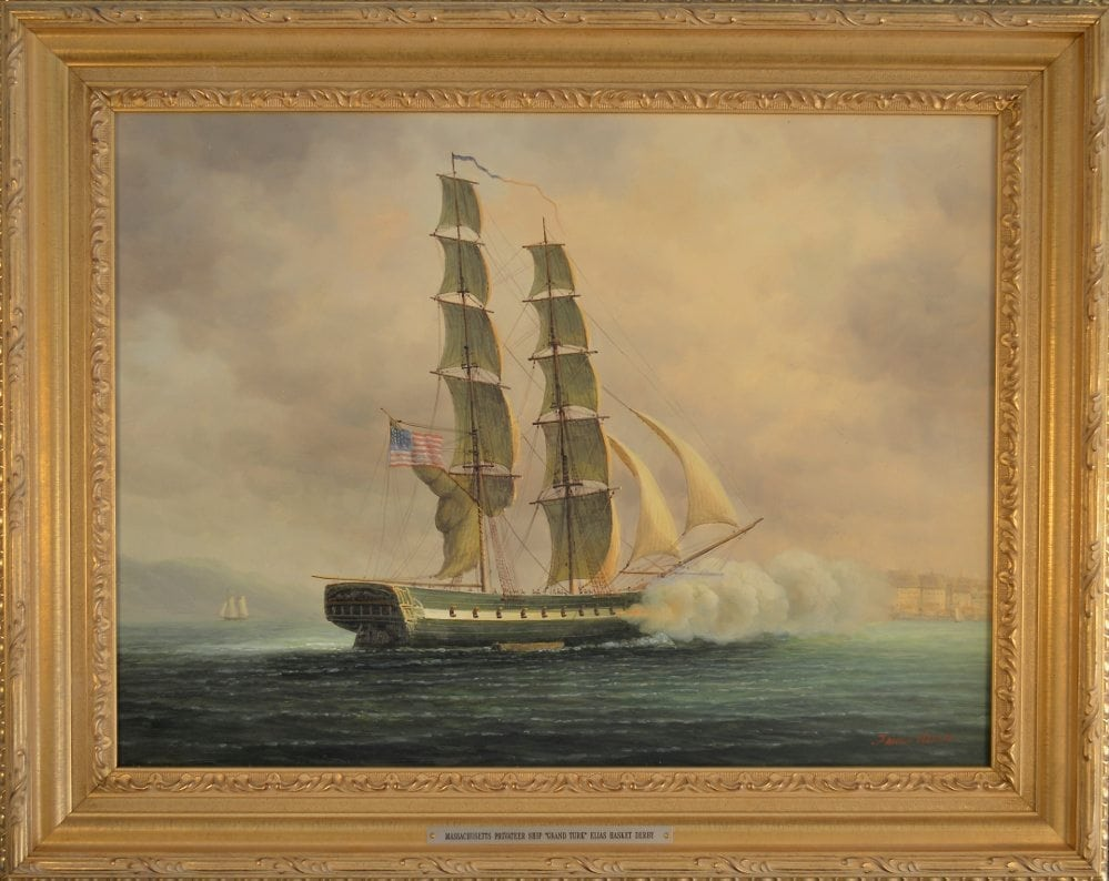 """True Story: painting of a two-masted ship titled """"Grand Turk"""" by James Hardy III."""