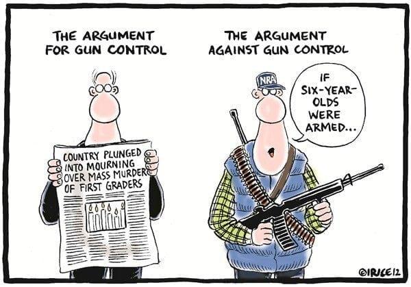 Have we won: cartoon mocking NRA arguments for arming children.