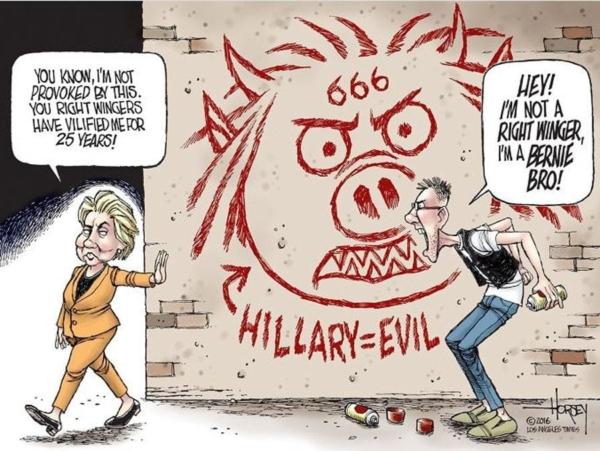 Fruitless: Cartoon (2) of Hillary and a Berniebro by David Horsey.