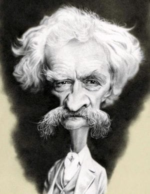 Misinformation: caricature of Mark Twain by Thierry Coquelet.