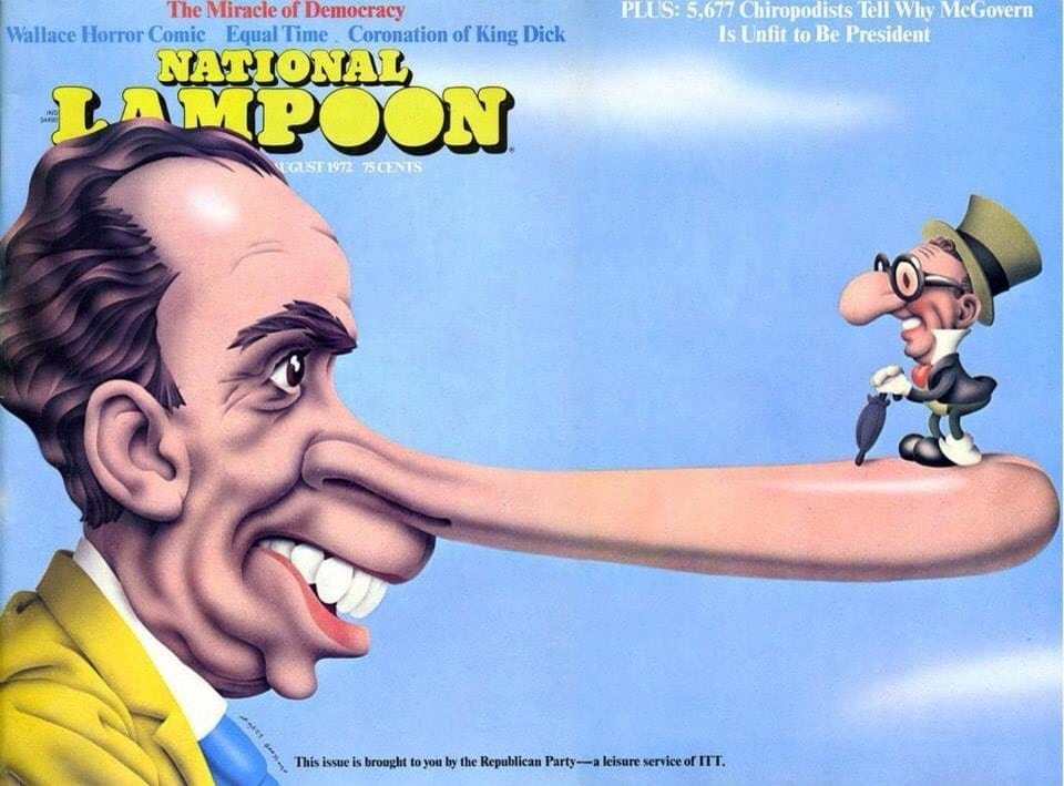Misinformation: gatefold cover of the August 1972 issue of NATIONAL LAMPOON with Nixon and Kissinger as Pinocchio and Jiminy Cricket.