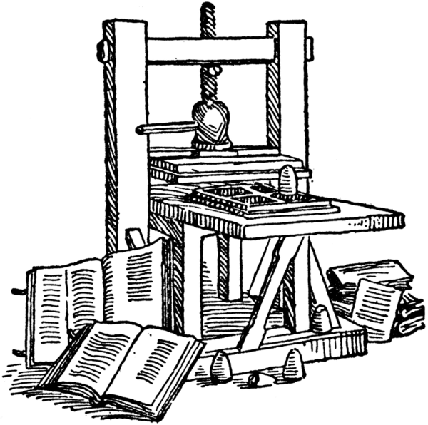 Posting online: a drawing of Gutenberg's printing press.