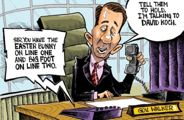 Face of Republicanism: Cartoon of Governor Scott Walker by Phil Hands for the Wisconsin Sate Journal.
