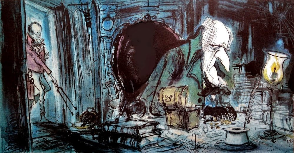 Drawing of the heartless Ebenezer Scrooge with bleeding heart Bob Cratchit by artist Ronald Searle.