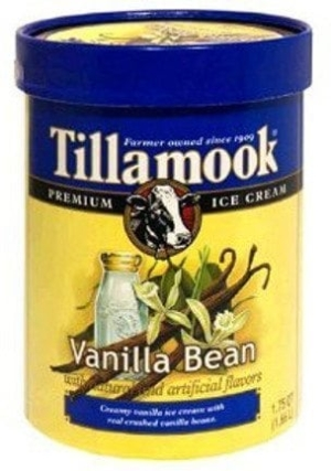 Dharma: Tillamook ice cream in older packaging with cow's head.