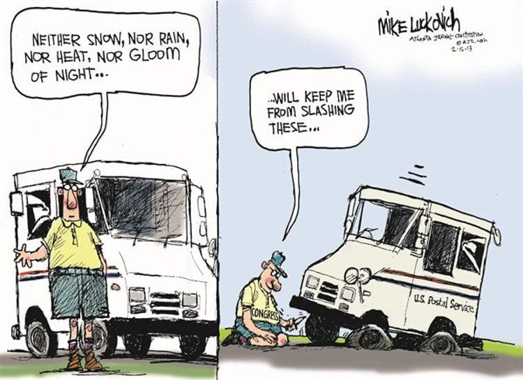 Cartoon by Mike Lukovich on how efficient the Rep*bican Congress is on hobbling the USPS.