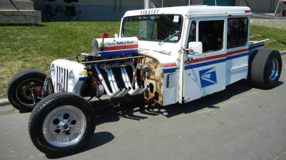 Photo of a USPS delivery truck as a super-efficient, souped-up hotrod.