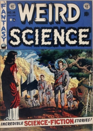 Cover of WEIRD SCIENCE #14 with Wally Wood art.
