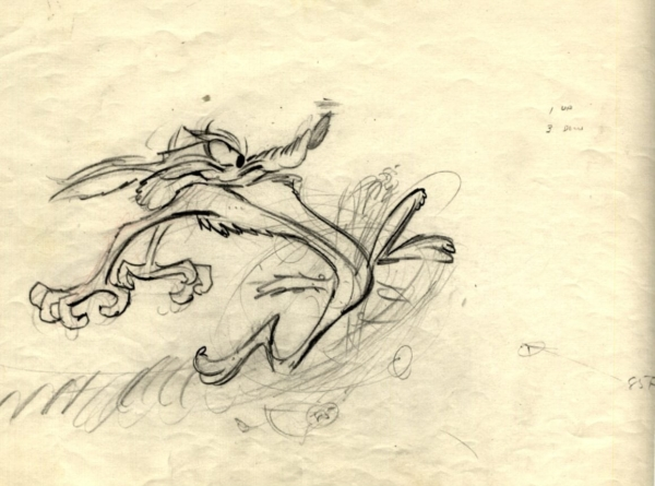 Creativity rears its head: Warner Brothers drawing of Wile E. Coyote