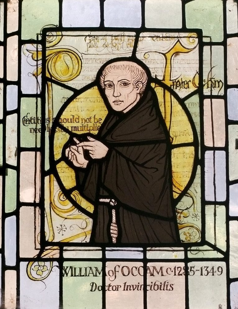 Nemu: photo of a stained glass window depiction of William of Ockham in a church in Surrey, England.