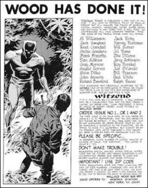 Very Strange Comic Strip: advertisement of WITZEND #1 in 1967.