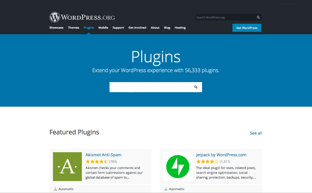 Publish Button: screenshot of the homepage of the WordPress Plugins repository.
