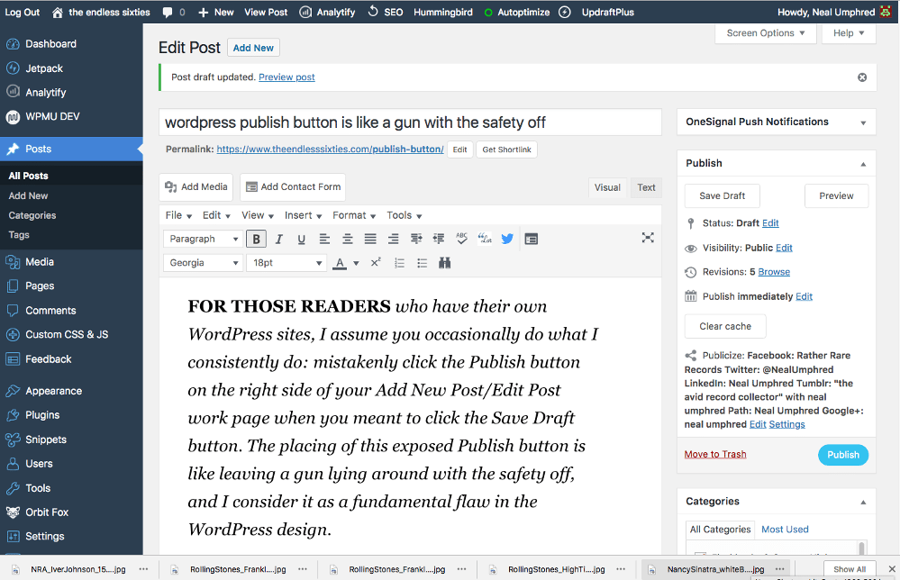 Publish Button: screenshot of the Edit Post page on a WordPress site.